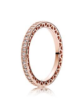 Pandora - Ring - 14K Rose Gold, TK & Cubic Zirconia Hearts of Rose