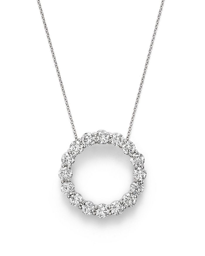 Bloomingdale's DIAMOND OPEN CIRCLE PENDANT NECKLACE IN 14K WHITE GOLD, 4.0 CT. T.W. - 100% EXCLUSIVE