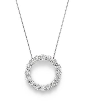 Diamond Open Circle Pendant Necklace in 14K White Gold, 4.0 ct. t.w. - 100% Exclusive