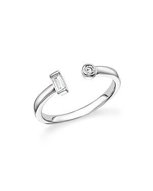 Diamond Round and Baguette Open Ring in 14K White Gold, .15 ct. t.w. - 100% Exclusive