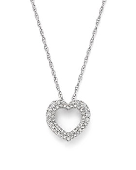Bloomingdale's - Diamond Heart Pendant Necklace in 14K White Gold, .25 ct. t.w. - 100% Exclusive