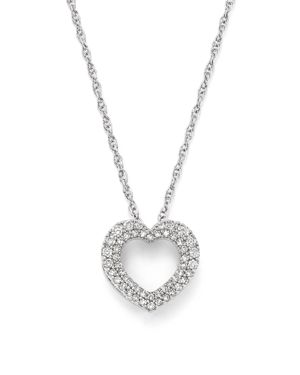 Diamond Heart Pendant Necklace in 14K White Gold, .25 ct.t.w. - 100% Exclusive