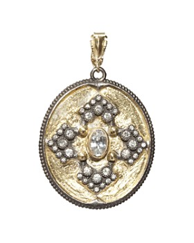 Armenta - 18K Yellow Gold and Blackened Sterling Silver Old World Midnight Diamond and White Sapphire Oval Pendant