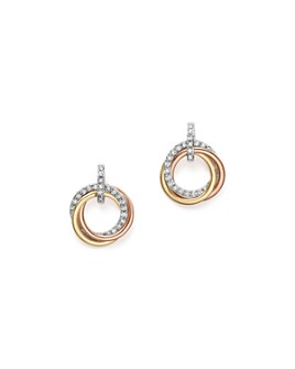 Bloomingdale's - 14K Gold Diamond Triple Circle Earrings