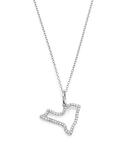 KC Designs - 14K White Gold Diamond Mini New York State Necklace, 16""