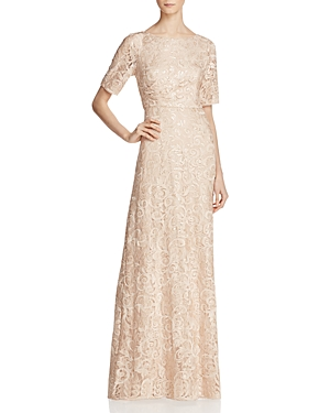 Adrianna Papell Illusion-Sleeve Embellished Lace Gown