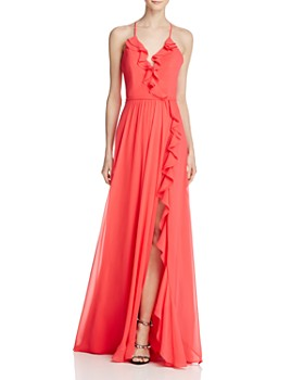 Faviana Couture - Ruffle Front-Slit Gown
