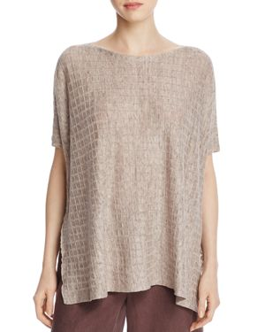 Eileen Fisher Petites Grid Texture Linen Top 2575928