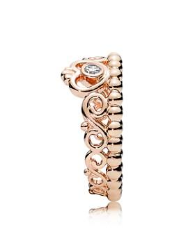 PANDORA - 14K Gold, Sterling Silver & Cubic Zirconia Princess Tiara Rose Ring