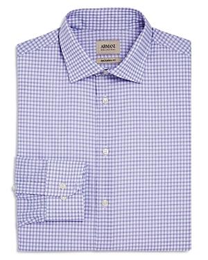 Armani Collezioni Multi Windowpane Print Classic Fit Dress Shirt