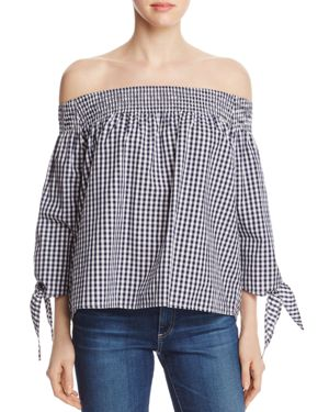 Finn & Grace Off-the-Shoulder Gingham Top - 100% Exclusive