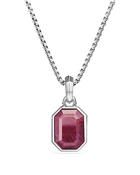 David Yurman - Emerald Cut Amulet with Indian Ruby