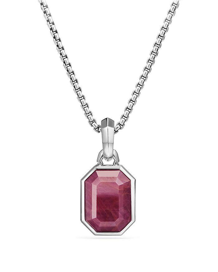 David Yurman - Emerald Cut Amulet with Indian Ruby
