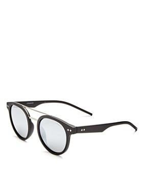 Polaroid - Women's Polarized Mirrored Brow Bar Round Sunglasses, 49mm
