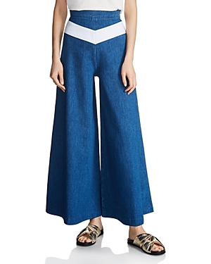 Maje Pako Wide-Leg Denim Pants