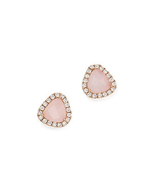 Click here for Meira T 14K Rose Gold Pink Opal and Diamond Stud E... prices
