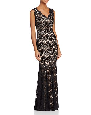 AQUA - Sleeveless V-Neck Lace Gown - 100% Exclusive