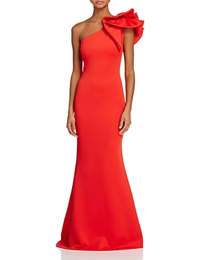 Avery G One-Shoulder Ruffle Gown