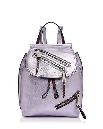 MARC JACOBS - Zip Pack Embossed Trim Metallic Leather Backpack