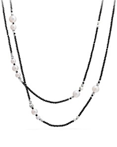 David Yurman - Oceanica Tweejoux Necklace with Dyed Gray Cultured Freshwater Pearls and Black Spinel