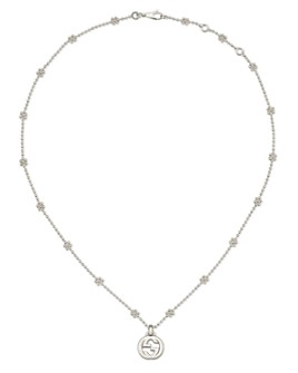 Gucci - Sterling Silver Interlocking G Cluster Chain Necklace, 14""