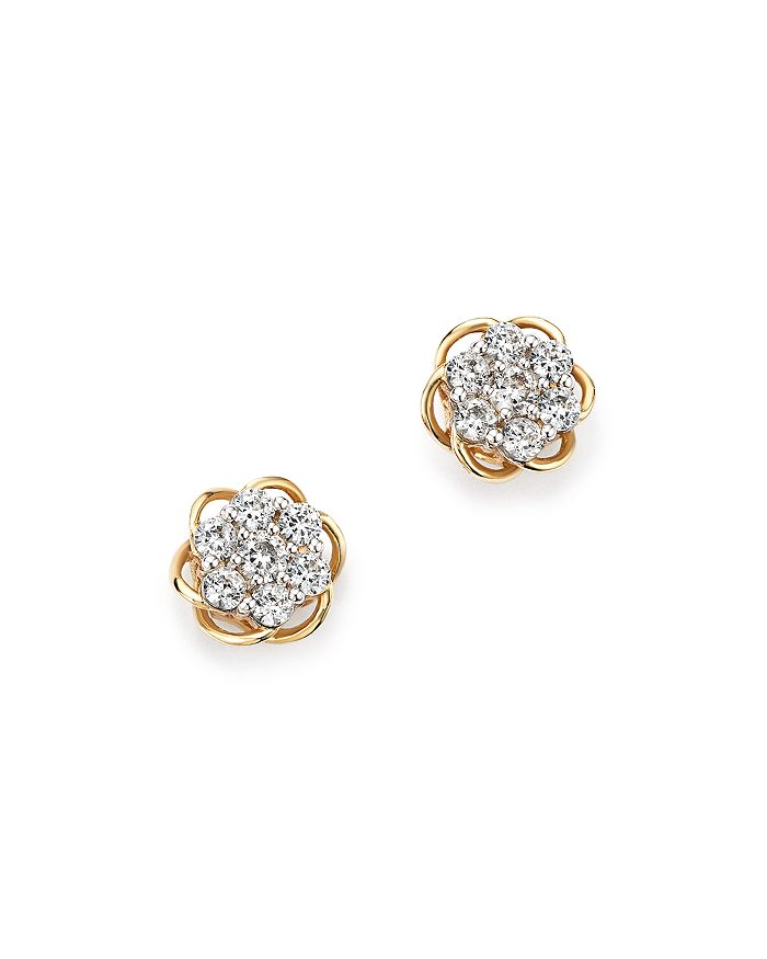 Diamond Flower Stud Earrings In 14k Yellow And White Gold 50 Ct T W 100 Exclusive