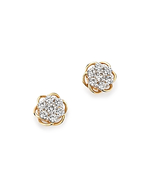 Diamond Flower Stud Earrings in 14K Yellow and White Gold, .50 ct. t.w. - 100% Exclusive