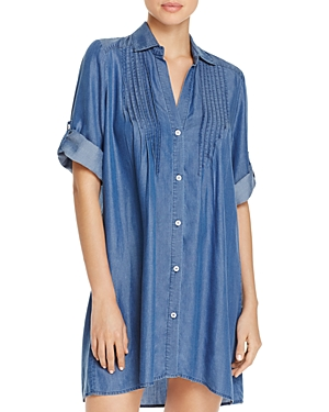 Tommy Bahama Chambray Pintucked Tunic Swim Cover-Up