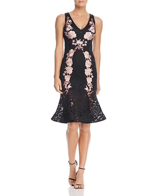 Avery G - Floral Embroidered Lace Midi Dress