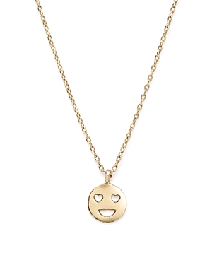 Bing Bang Nyc 14K Yellow Gold Heart Eyes Emoji Necklace, 16