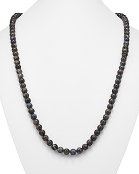 Armenta - Old World Midnight Labradorite Bead Necklace with Carved Tahitian Pearl and Black Sapphire, 39""