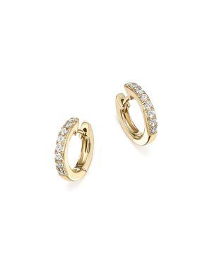 Diamond Mini Hoop Earrings in 14K Yellow Gold, .15 ct. t.w. - 100% Exclusive