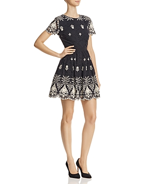 Alice + Olivia Nigel Lace Fit-And-Flare Dress