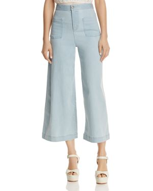 Alice + Olivia Johnny Front Patch Pocket Cropped Wide-Leg Jeans in Bleached Indigo