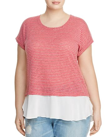 B Collection by Bobeau Curvy - Beckett Stripe Layered Top