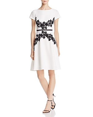 Adrianna Papell Embroidered Fit-and-Flare Dress