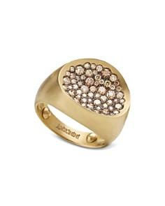 Antonini - Matte 18K Yellow Gold Matera Small Pavé Cognac Diamond Ring