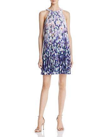 Adrianna Papell - Floral-Print Pleated Dress