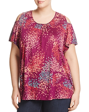 Lucky Brand Plus Floral Print Cold Shoulder Top
