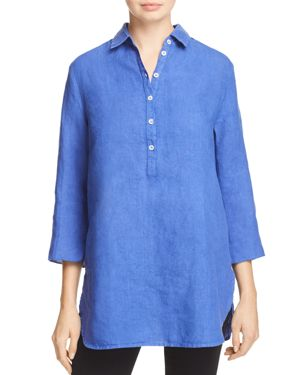 Three Dots Split Back Linen Tunic