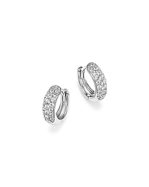 Diamond Mini Pave Hoop Earrings in 14K White Gold, .35 ct. t.w. - 100% Exclusive