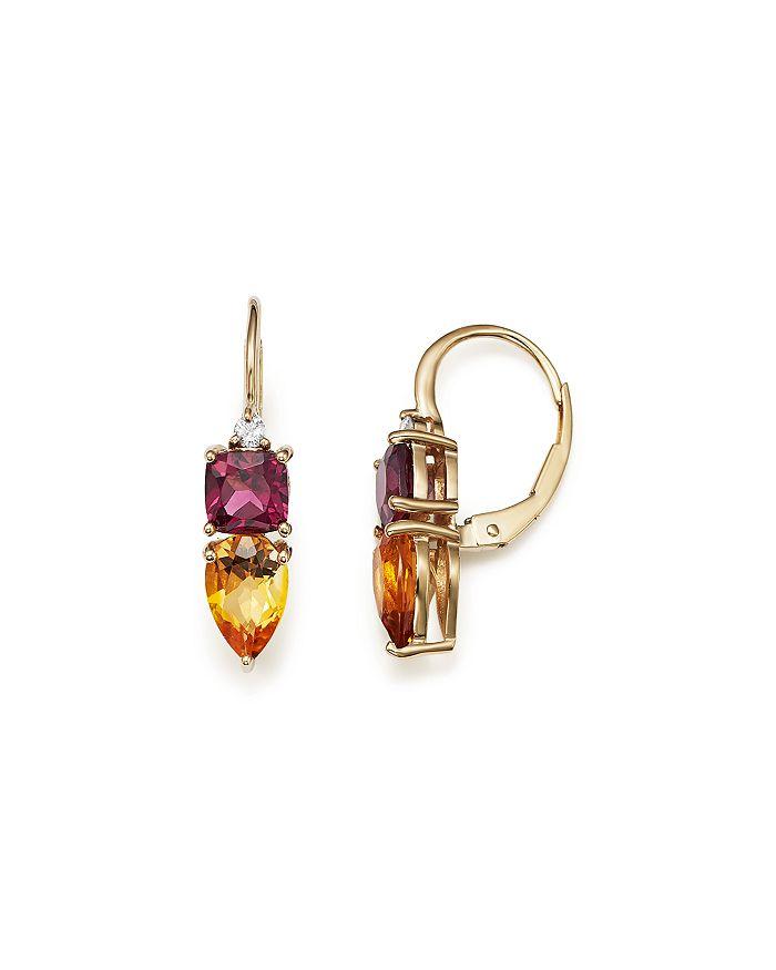 Bloomingdale's - Citrine, Rhodolite Garnet and Diamond Earrings in 14K Yellow Gold - 100% Exclusive