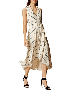 Karen Millen Windowpane Plaid Wrap Midi Dress