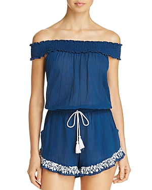 Lucky Brand Stitch In Time Romper Swim Cover-Up