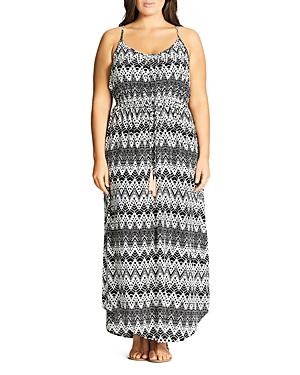 City Chic Tie Waist Print Maxi Dress