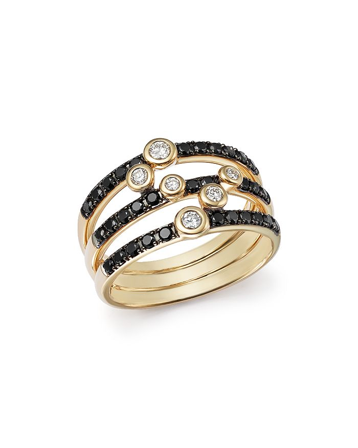 Bloomingdale's - Black and White Diamond Triple Row Band in 14K Yellow Gold - 100% Exclusive