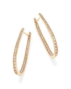 Diamond Inside Out Oval Hoop Earrings in 14K Yellow Gold, 1.50 ct. t.w. - 100% Exclusive
