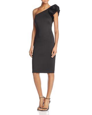 ELIZA J One-Shoulder Floral-Detail Dress in Black