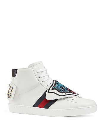 Gucci - Men's Leather Ace High-Top Sneakers with Removable Embroideries