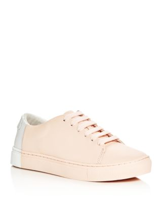THEY NEW YORK Two Tone Lace Up Sneakers in Blush/White